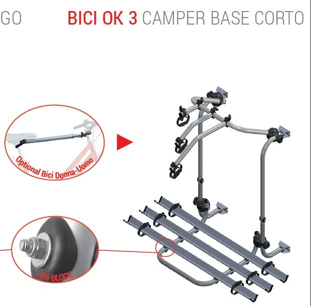 Fabbri. base corta Portabicicletas para caravana para 3 bicicletas