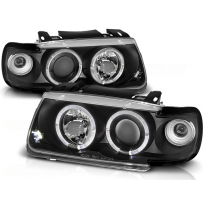 Faros Delanteros Angel Eyes Vw Polo 6n 10.94-09.99 Hatchback Fondo Negro