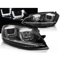 Faros Delanteros Vw Golf 7 11.12-17  U-Type Negro Drl Intermitentes Dinamicos