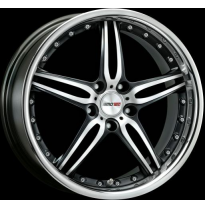 "Llanta Motec Wheels Pantera Black Stainless Lip 9,5jx18"" - Peso 12,3-12,6"